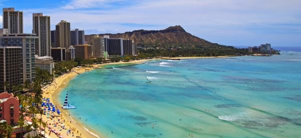waikiki Beach and Diamond Head Crater in Hawaii