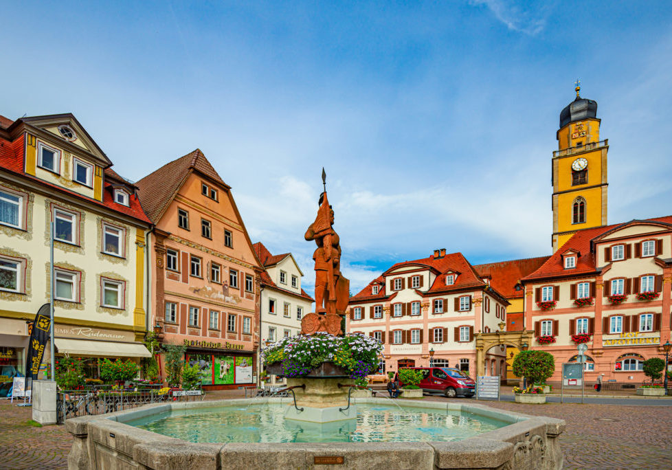 Bad Mergentheim, Germany - September 24, 2014: Main square of German town Bad Mergentheim with old Town Hall in Bavaria, Germany