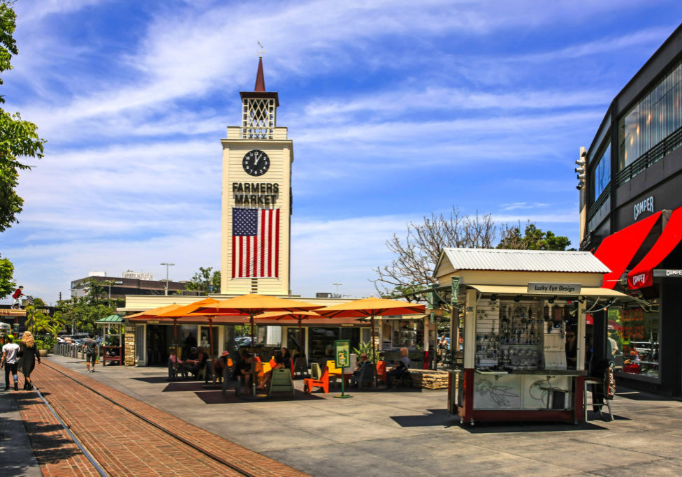 Los Angeles, CA, USA - July 2nd, 2015: The Farmers Market clock tower, now part of the Grove retail and entertainment complex in Los Angeles.