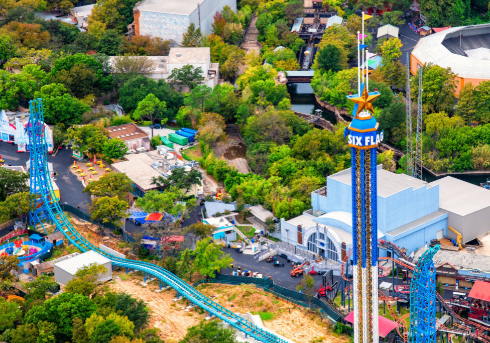 Arlington, United States - October 21, 2020:  Aerial view of the empty Six Flags Over Texas amusement park located in Arlington just outside of Dallas, Texas.  Empty due to the Covid-19 pandemic.